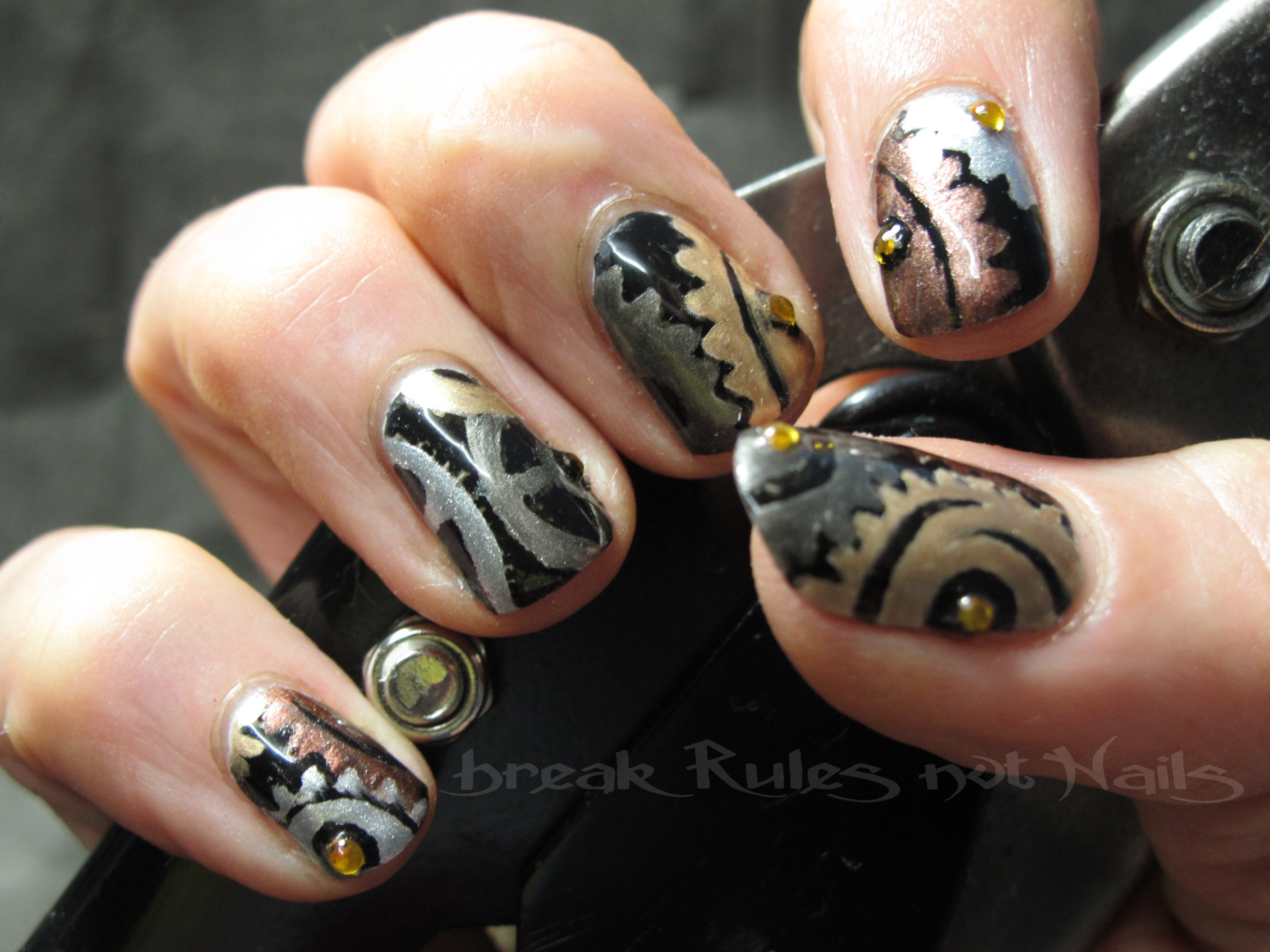 Steampunk nail art break rules not nails img9517 industrail revolution prinsesfo Images