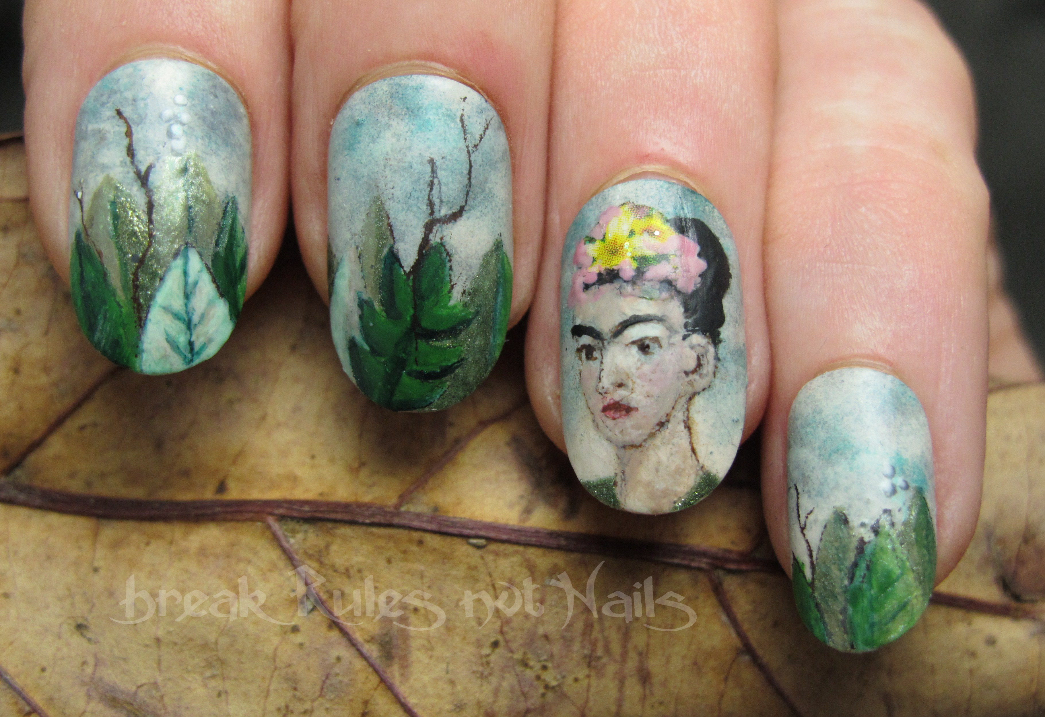 Frida Kahlo nail art   Break rules, not nails