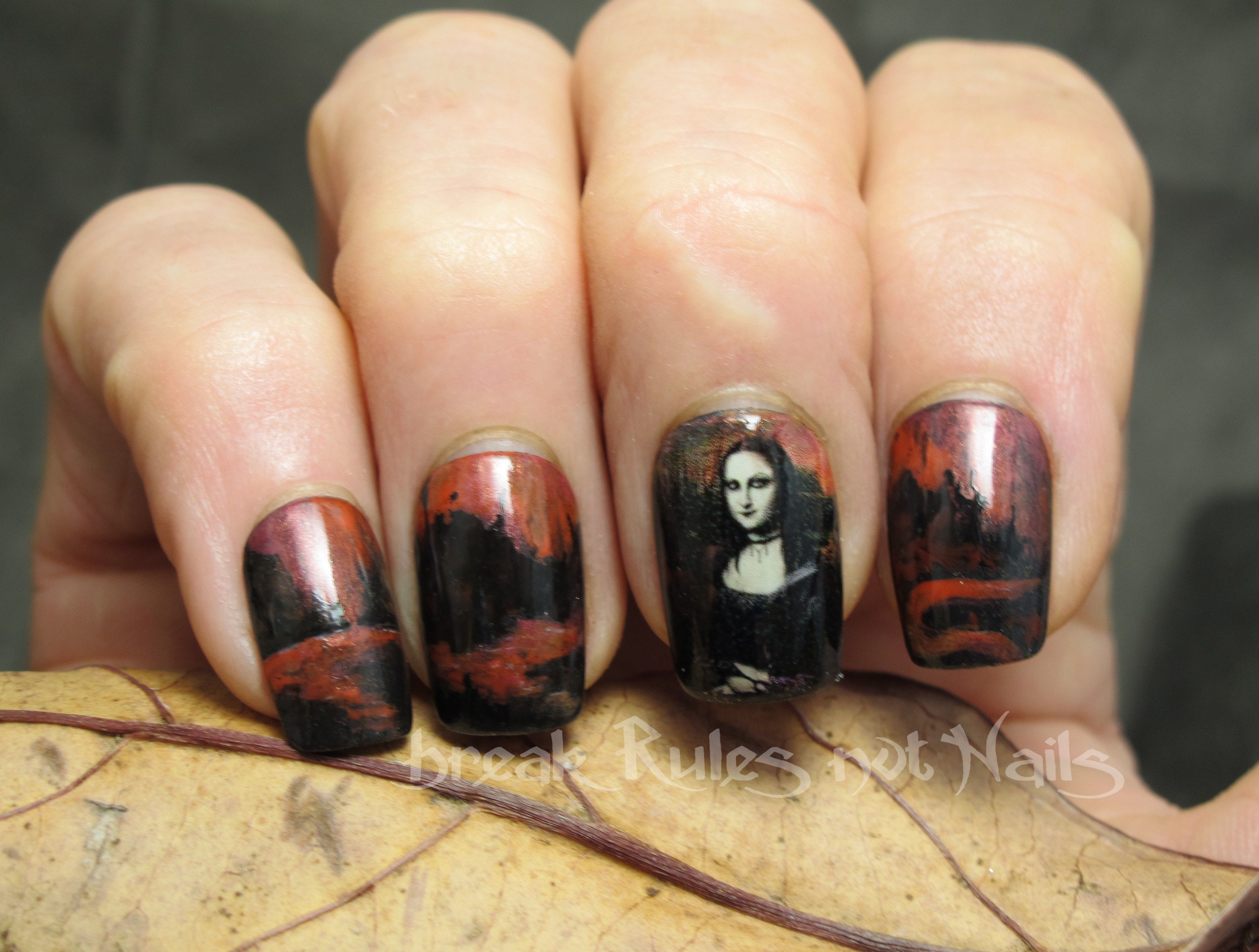 Goth Mona Lisa nail art | Break rules, not nails