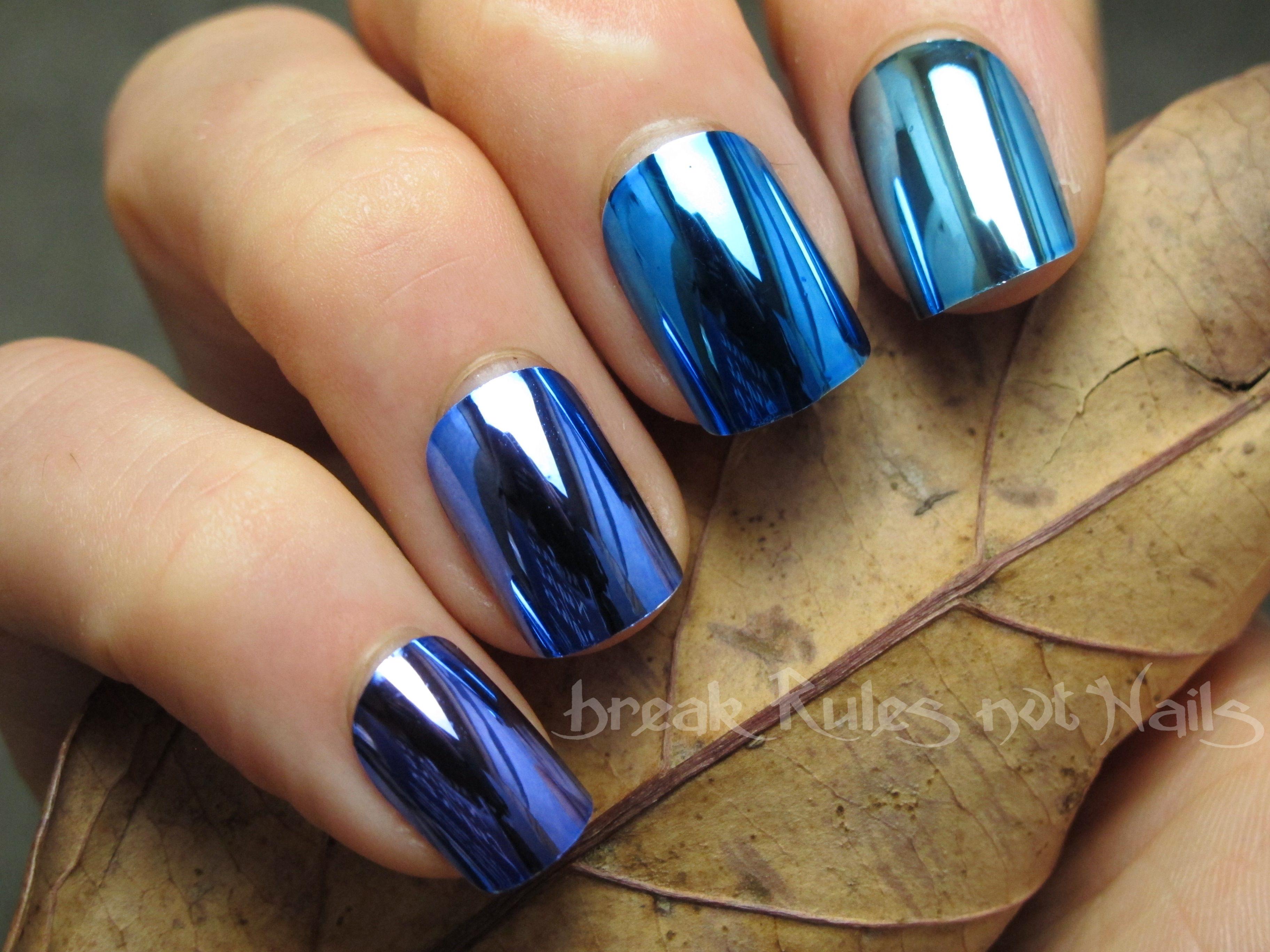 Blue chrome ombre nails | Break rules, not nails