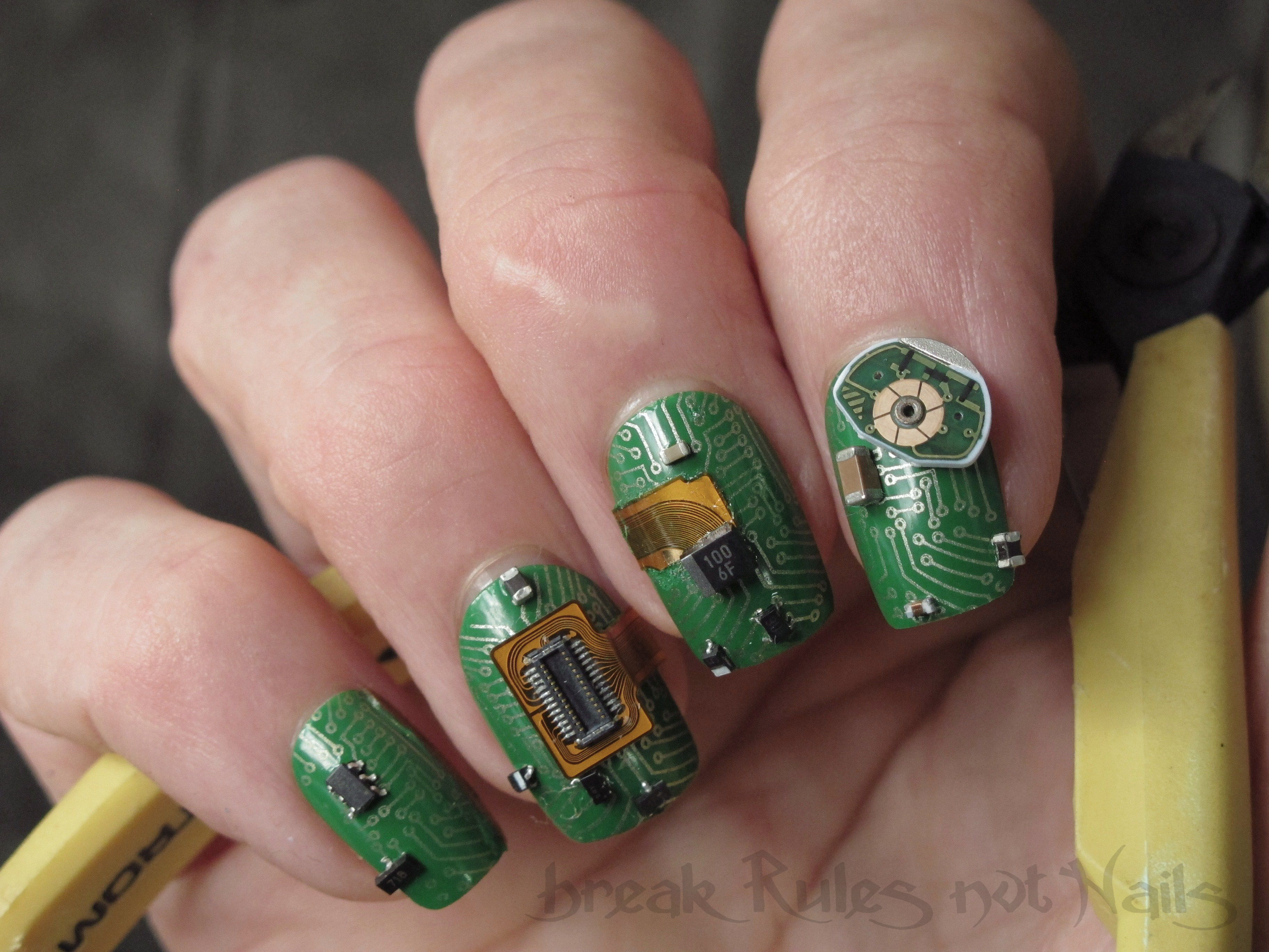 electronic component nail art | Break rules, not nails