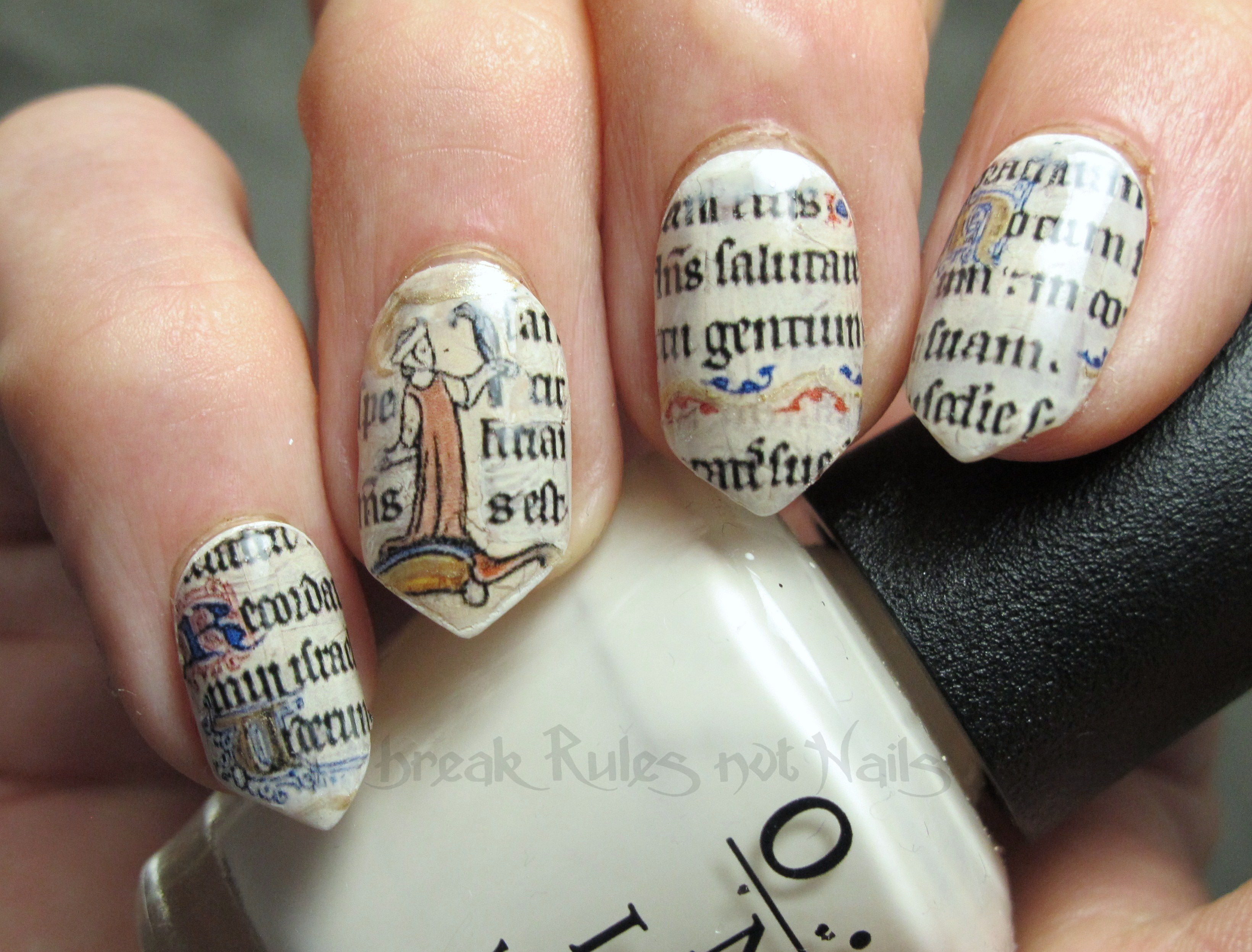 Manuscript nail art break rules not nails i have printed this image below onto clear waterslide decal paper cut out the sections that i liked and hey prestonuscript nails prinsesfo Images