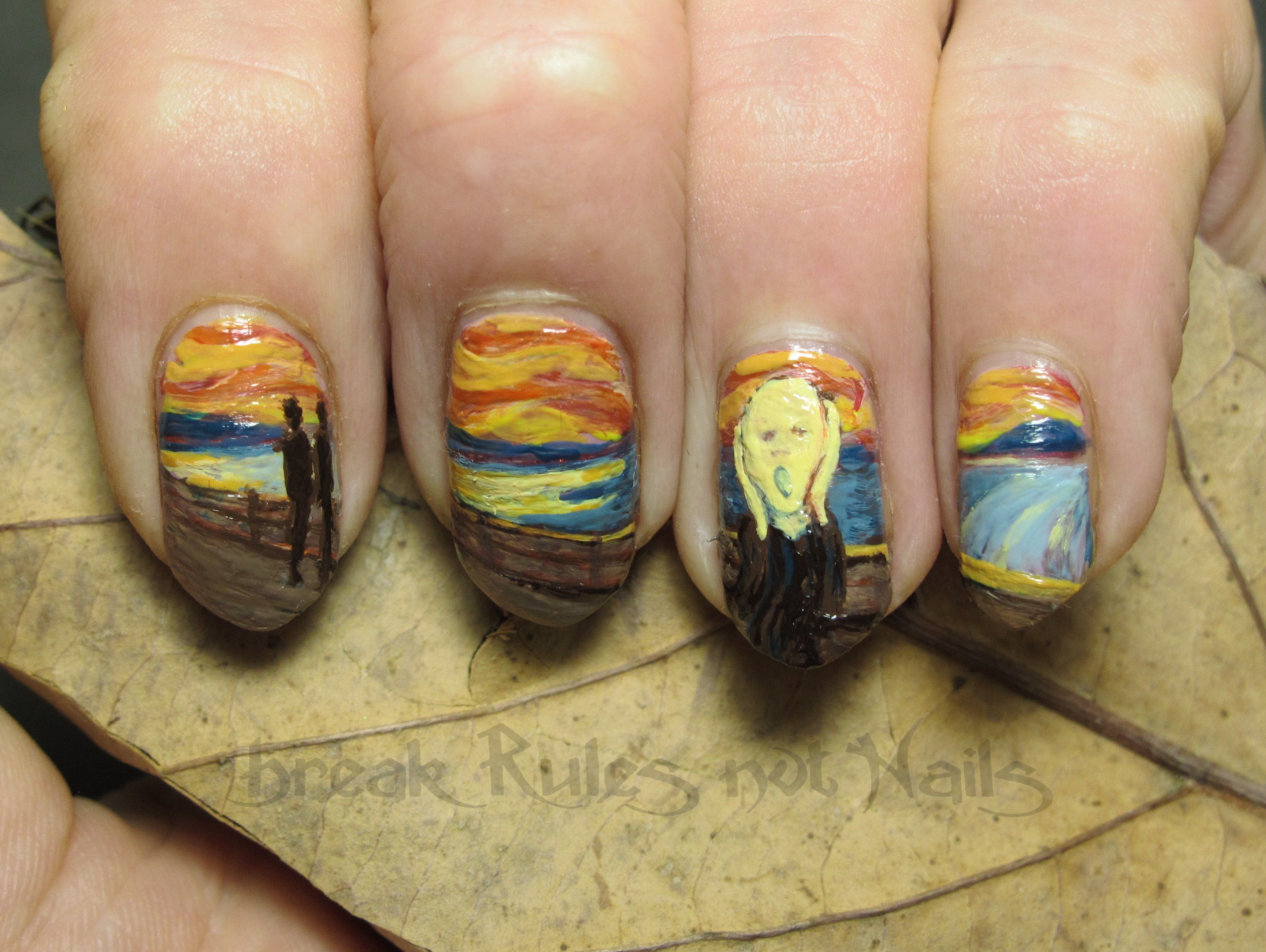 Munch nail art | Break rules, not nails