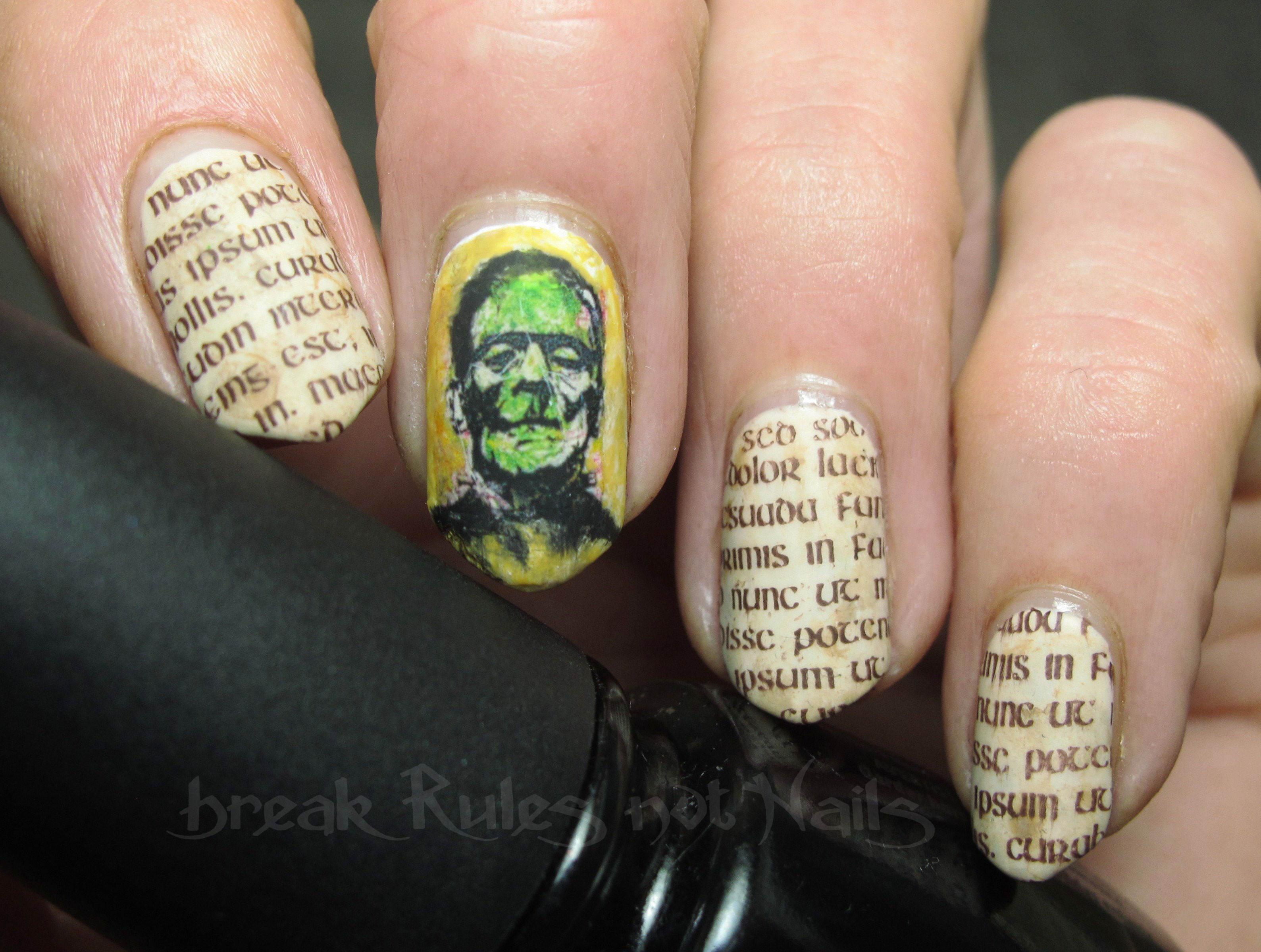 Frankenstein nail art break rules not nails day 24 inspired by a book prinsesfo Image collections