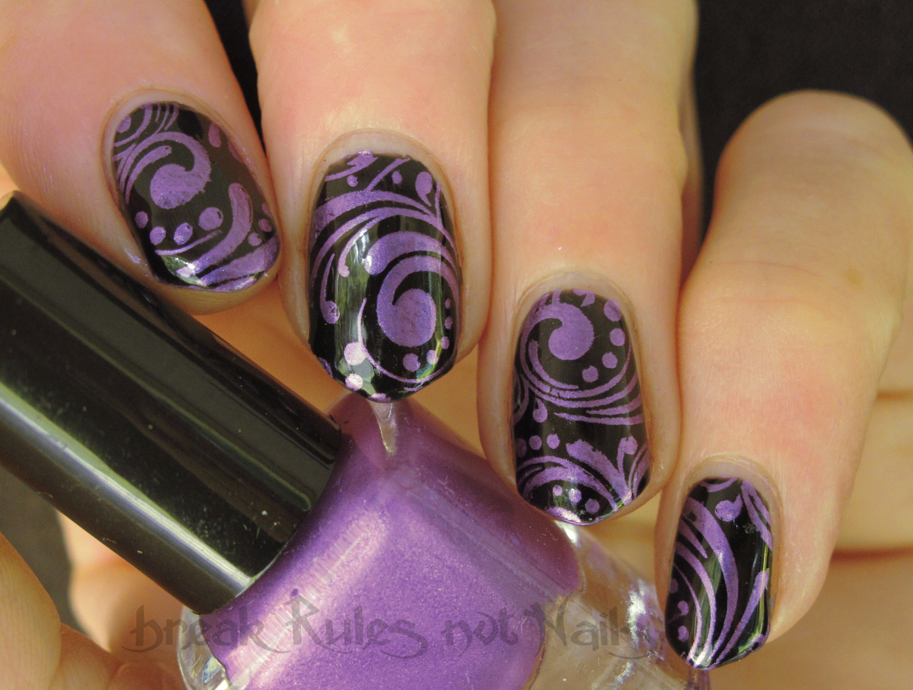 Purple and black nail art | Break rules, not nails