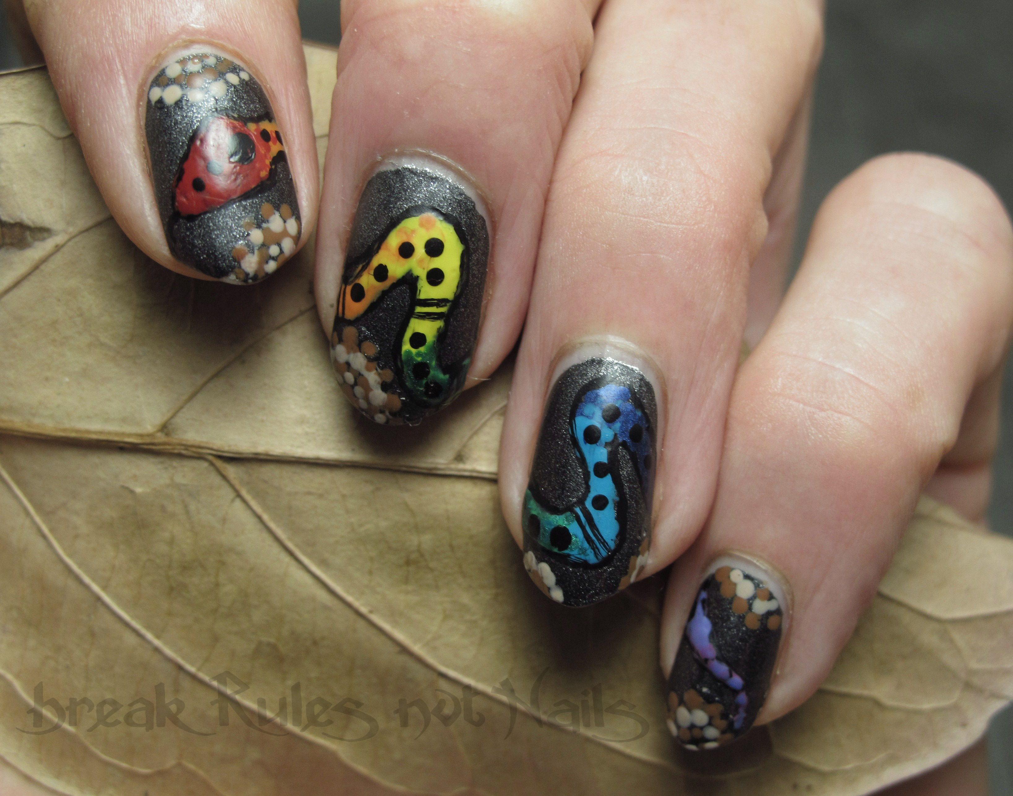 rainbow serpent nail art | Break rules, not nails