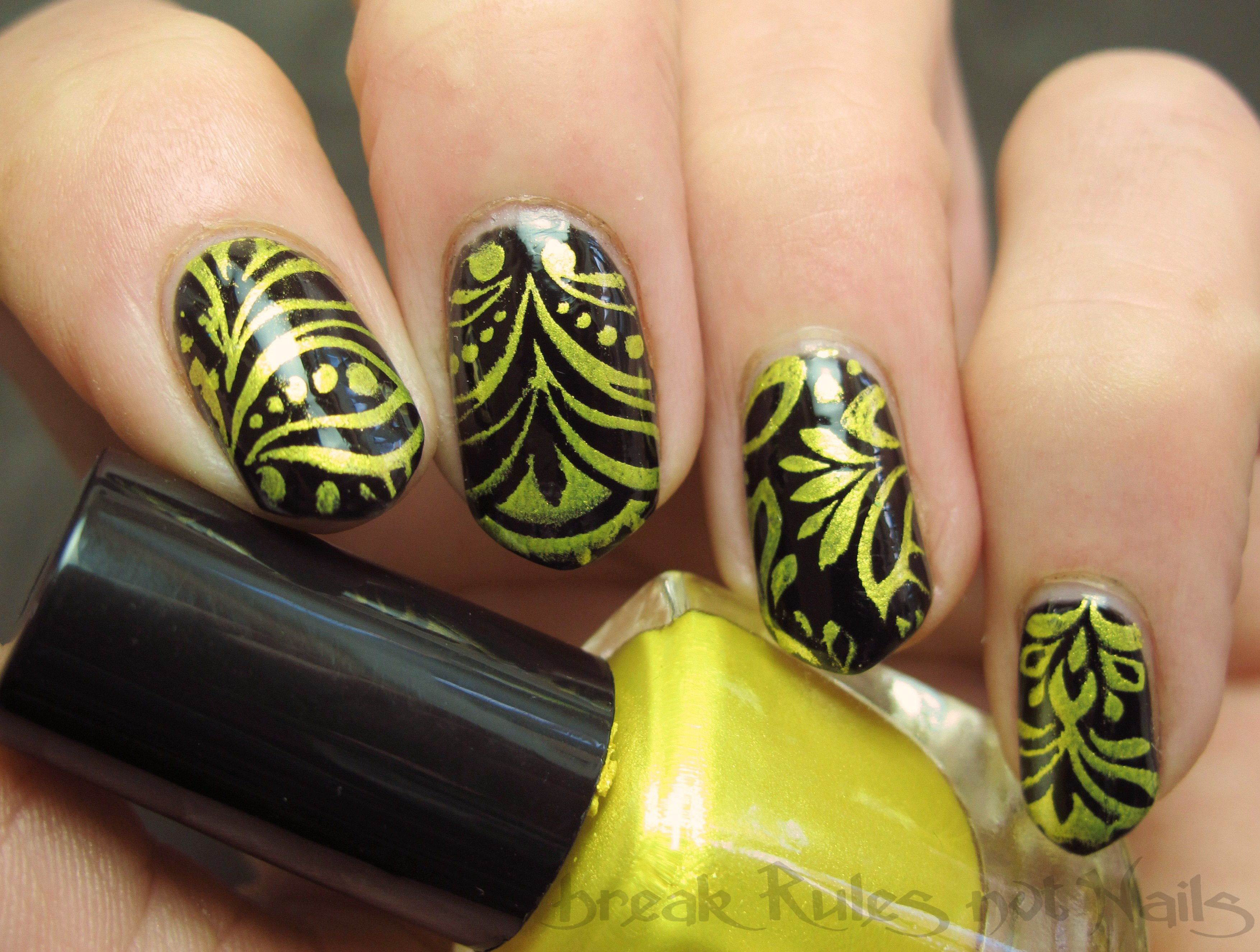 Black And Yellow Nail Art Break Rules Not Nails