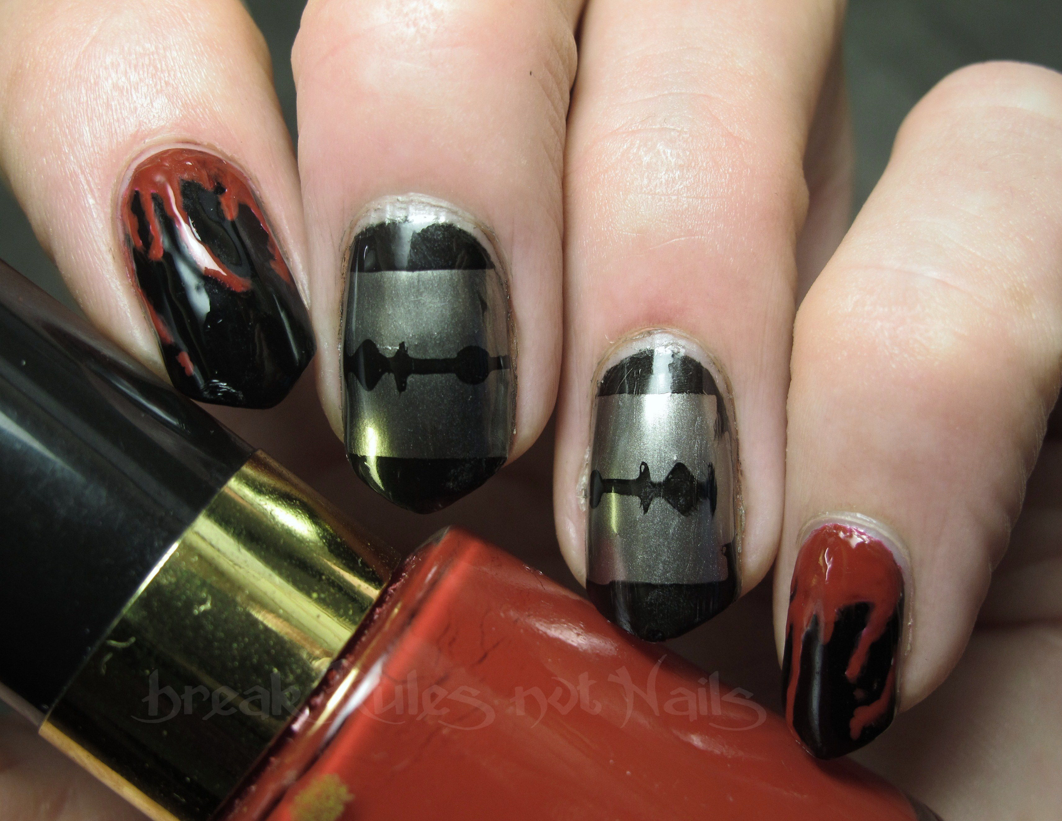 Blood dripping nail art break rules not nails razor and blood prinsesfo Gallery