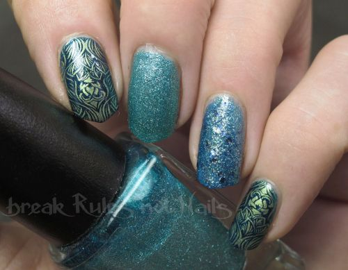 Stamping over blue